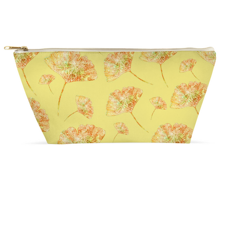 Accessory Pouch - Gingkos on Yellow