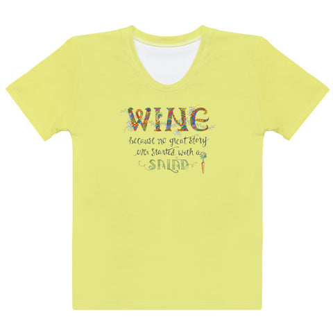Women's Crew-Neck T-shirt - Wine/Salad in Yellow