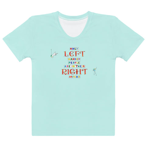 Women's Crew-Neck T-shirt - Left Handed in Pale Aqua
