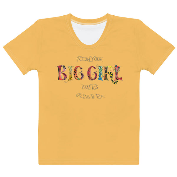 Women's Crew-Neck T-shirt - Big Girl in Orange