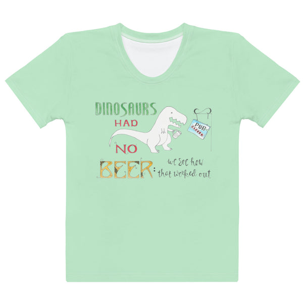 Women's Crew-Neck T-shirt - Dinosaurs in Green