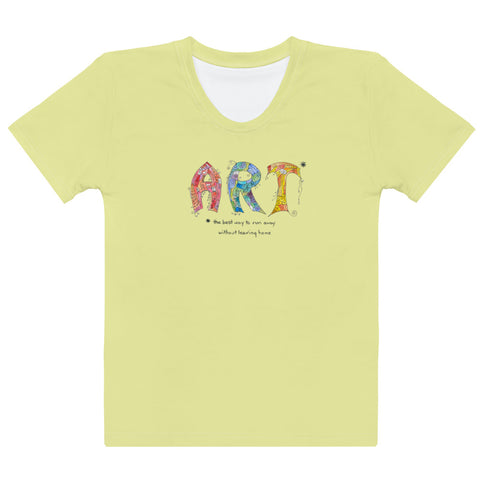 Women's Crew-Neck T-shirt - Art in Yellow
