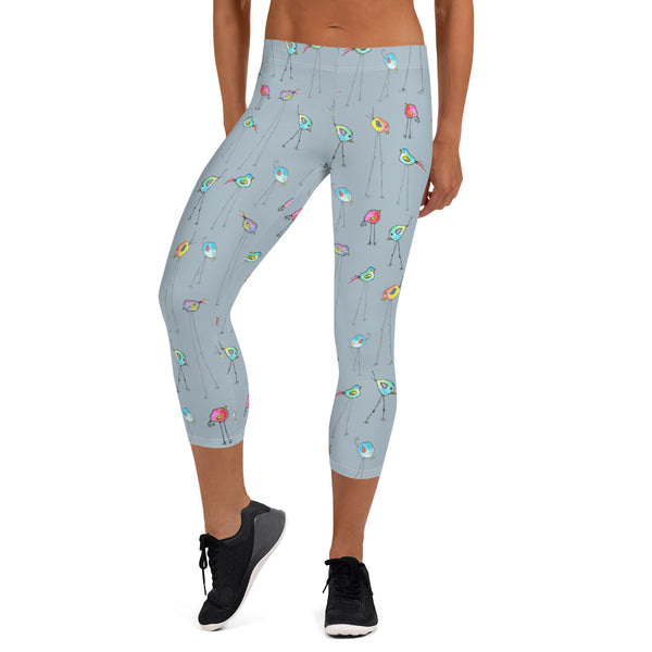 Women's Capri Leggings - Birds Legs in Gray