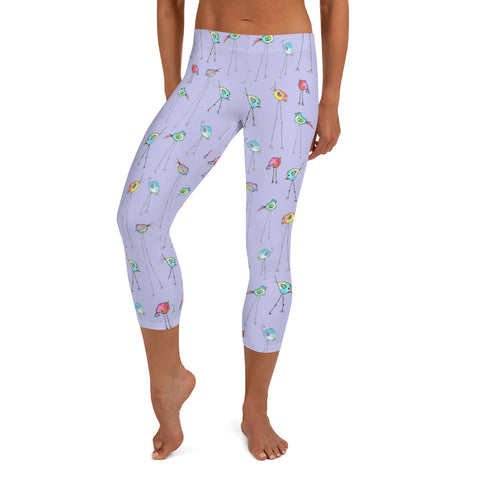Women's Capri Leggings - Birds in Lavender