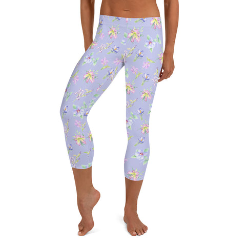 Women's Capri Leggings - Lavender Floral in Lavender