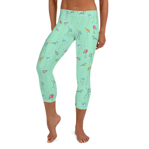 Women's Capri Leggings - Bird Legs in Bright Aqua