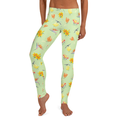 Women's Full-Length Leggings - Bright Floral in Green