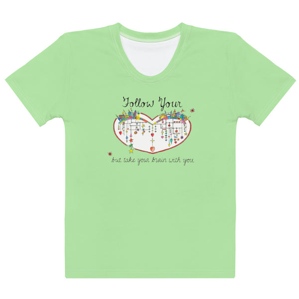 Women's Crew-Neck T-shirt - Follow Your Heart in Lime Green