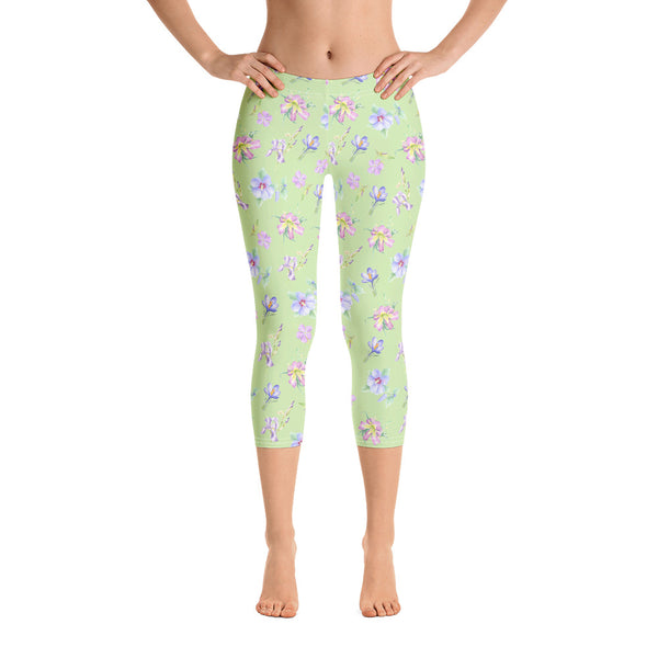 Women's Capri Leggings - Lavender Floral in Green