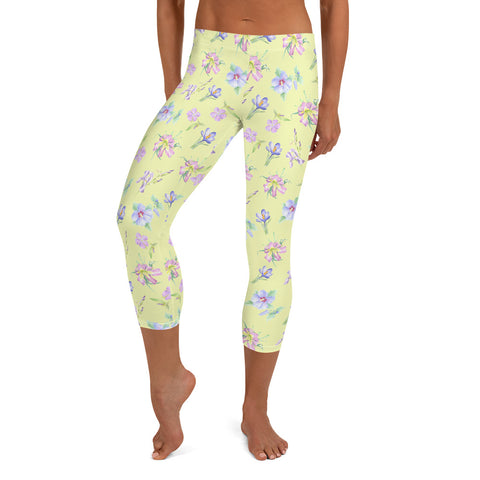 Capri Leggings - Lavender Floral in Yellow