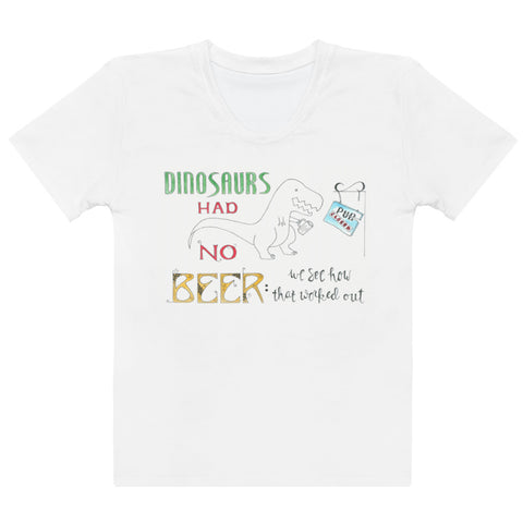 Women's Crew-Neck T-shirt - Dinosaurs in White