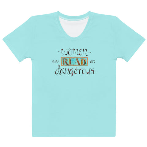Women's Crew-Neck T-shirt - Women Who Read in Aqua