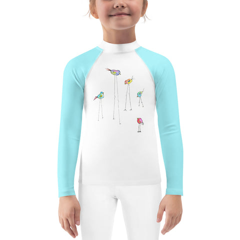 Kids Rash Guard - 5 Birds with Aqua Sleeves
