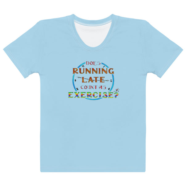 Women's Crew-Neck T-shirt - Running Late in Blue