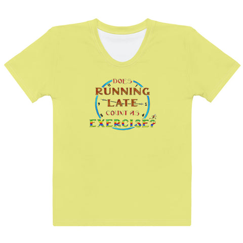 Women's Crew-Neck T-shirt - Running Late in Yellow