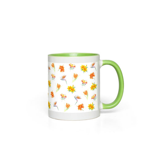 Accent Mugs - Orange Floral in Green