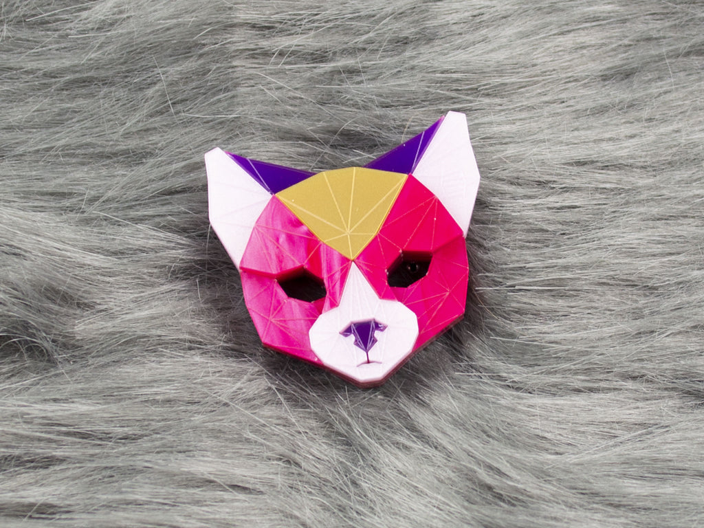 Black Cat Head - Magenta Jewel