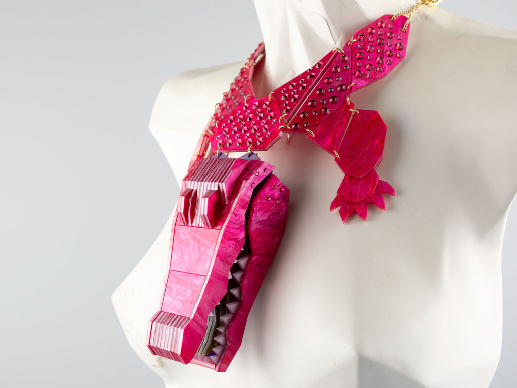 Statement Crocodile - Magenta Jewel