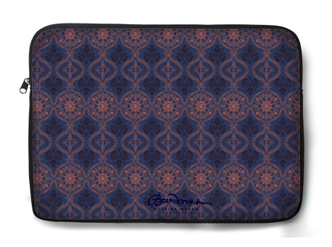 Sargasso Blue and Mellow Rose Damask Laptop Sleeve