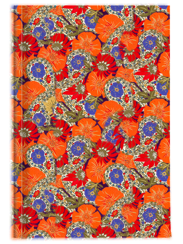 Orange Poppy and Bright Sea Blue Paisley & Floral Journal