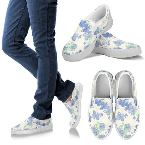 Blu&White Watercolor Floral Slip On Sneakers