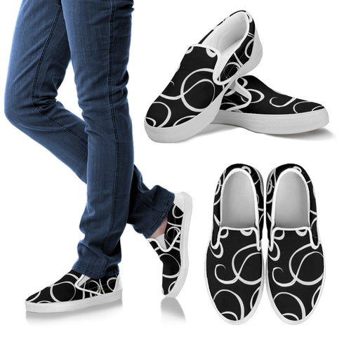 B&W Squiggles Slip On Sneakers