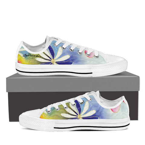 Sunrise Floral Women's White Low Top Sneakers