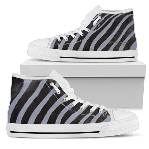Grey Zebra High Top Sneakers