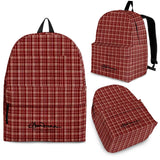 Maroon Beige Tight Plaid Back Pack