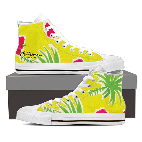 Strawberry Tropic Women's White High Top Sneakers