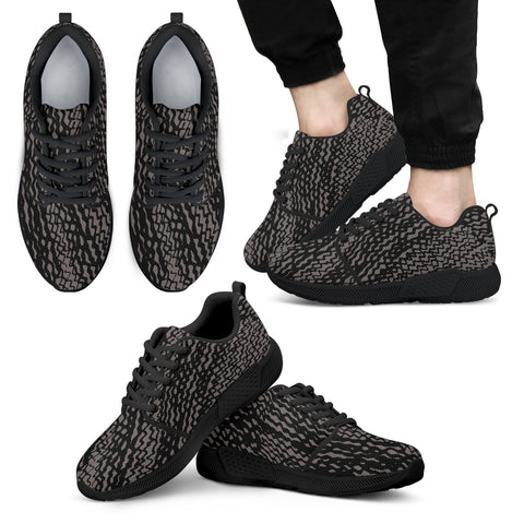 Charcoal and Black Tire Scribbles Athletic Sneakers