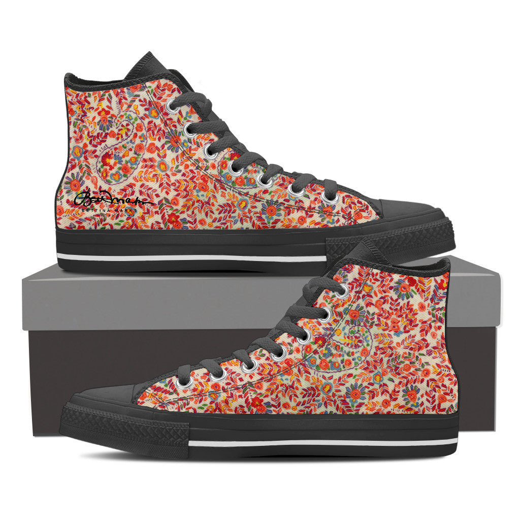 Retro Paisley High Top  by Bettina Marks Inc.