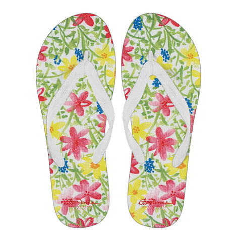 Wildflower Women's White Flip Flops