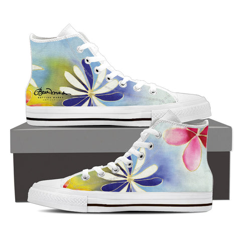 Sunrise Floral Women's White High Top Sneakers