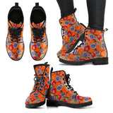 Orange Poppy Olive and BrightSeaBlue Paisley Floral Leather boots (Vegan)