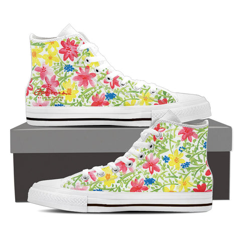 Wildflower Women's White High Top Sneakers