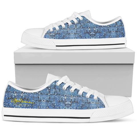 Blu&White Dotted Plaid Low Top Sneakers