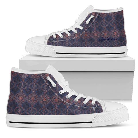 Sargasso Blue and Mellow Rose Damask High Top Sneakers