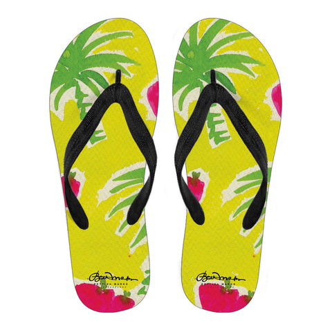 Strawberry Tropic Women's Black Flip Flops