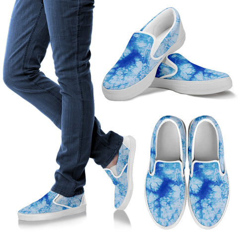 Blue Tie Dye Slip On Sneakers