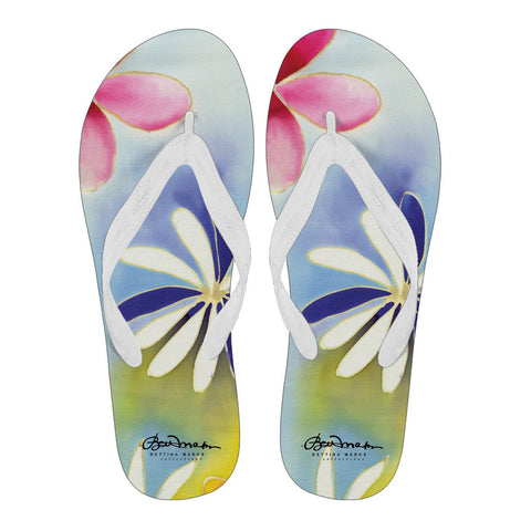 Sunrise Floral Women's White Flip Flops