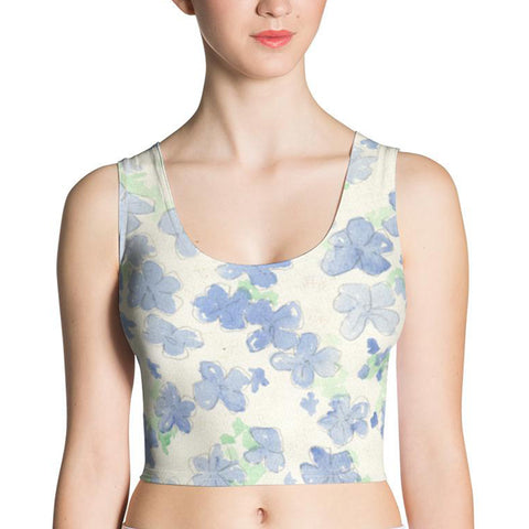 Blu&White Watercolor Floral Crop Top