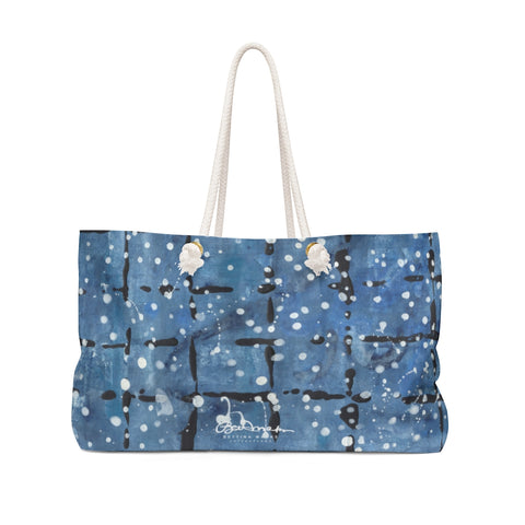 Blue&White Javaesque Plaidw White Dots Weekender Bag