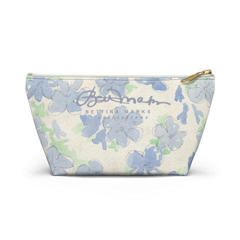 Blu&White Watercolor Floral Accessory Pouch w T-bottom