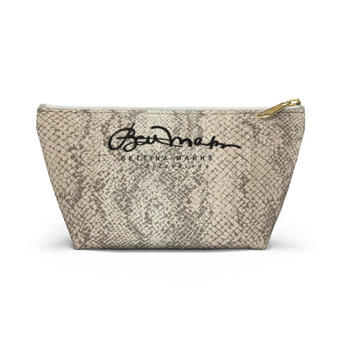 Authentic Snake Skin Print Accessory Pouch w T-bottom