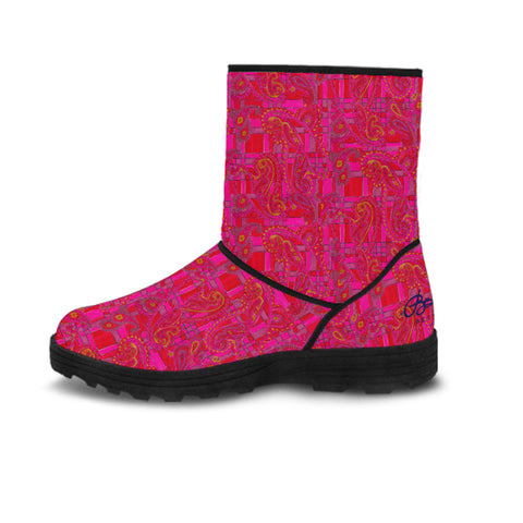 Faux Fur Bright Fuscia and Red Poppy Paisley on Plaid Boots