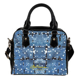 Blu&White Dotted Plaid Hand Bag w Shoulder Strap