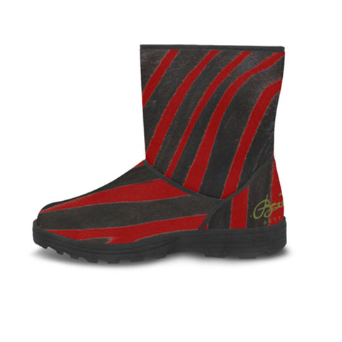Faux Fur Red Zebra Boots