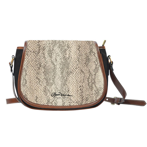 Authentic Snake Skin Print Saddle Shoulder Bag