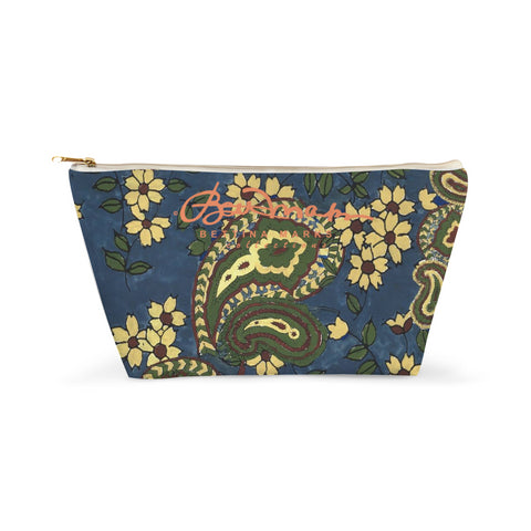 Sargosas Blue and Almond Buff (coloured) Paisley Accessory Pouch T-Bottom